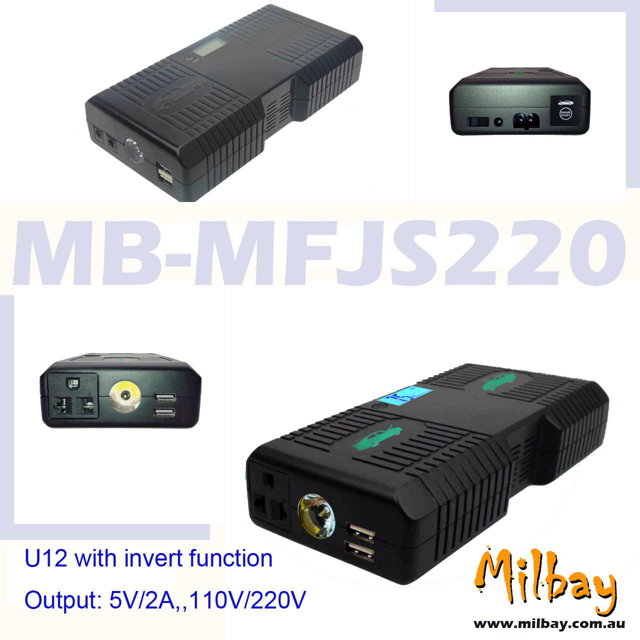 Auto Jump Starter and Power Banks 2016 Milbay MB-MFJS220